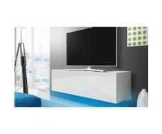 Mobile porta TV 140 cm con LED blu: Bianco/Bianco lucido