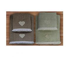 2 set di 2 asciugamani - Salvia/Fango