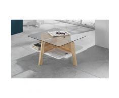 Tavolino Varm con piano in vetro temperato e struttura in legno