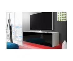 Mobile porta TV 140 cm con LED rosso: Bianco/Nero lucido