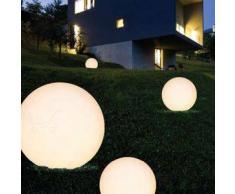 linea light Oh! - Lampada da terra a sfera da esterni S - Legno